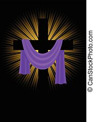 Cross With Purple Robe - Illustration of a cross with purple...