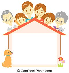 Family house blank space, copy space, vector file