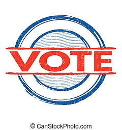 Vote stamp - Vote grunge rubber stamp on white background,...