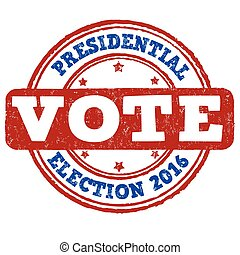 Presidential election 2016 grunge rubber stamp on white...