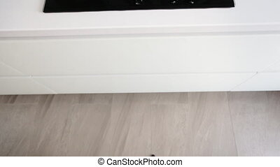Close up of female hands opening kitchen cabinet door and...
