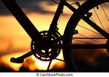 Sunset on a Bike ride - Mountain bike silhouetted by Tucson...
