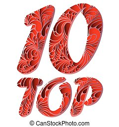 Top ten isolated vector text