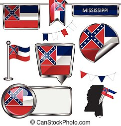 Glossy icons with flag of state Mississippi - Vector glossy...