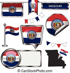 Glossy icons with flag of state Missouri - Vector glossy...