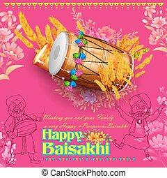 Happy Baisakhi background - illustration of Punjabi New Year...