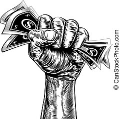 Revolution fist holding money concept