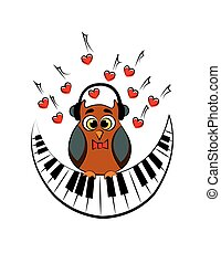 owl with piano. vector