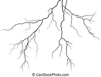 Lightning stroke in sky.