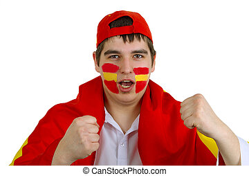 Spanish soccer fan - Young spanish soccer fan on white...
