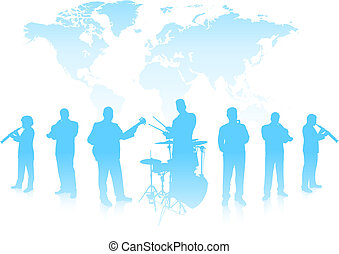 Musical Band on World Background