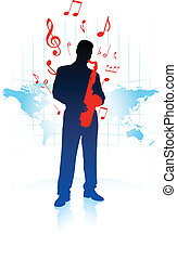 Saxophone player on World Map background
