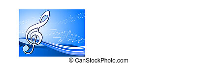 Musical note on abstract blue background