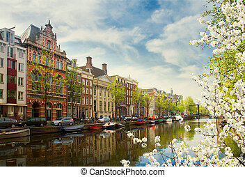 embanlment of canal ring, Amsterdam - embankment of canal...