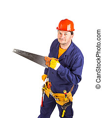 Worker with hand saw