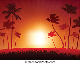 Tropical Sunset Background - Original Vector Illustration...