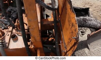 Details on concrete mixer - Close up details on mixer truck...