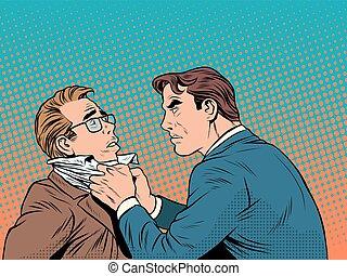 Conflict men fight quarrel businessman pop art retro style....