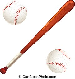 Baseball bat and balls on white - Baseball bat and balls...