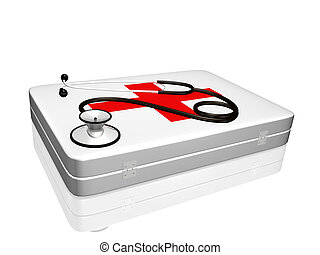 Stethoscope and Medical Kit - Image of a 3d stethoscope on...