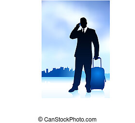 Business Traveler with City Skyline