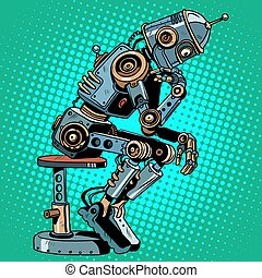 Robot thinker artificial intelligence progress pop art retro...