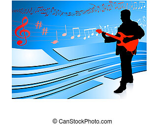 Guitar Player on Abstract Blue Background