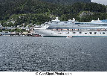 Large cruise ship docked