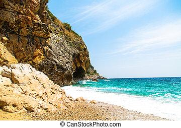 Summertime beach in Dalmatia, southern Croatia