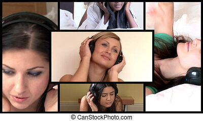 Stock animation of attractive women listening music at home