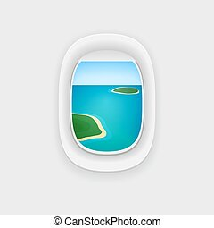 Airplane Window with a View of a Tropical Island Ocean.