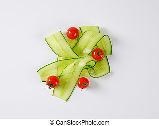 thin cucumber slices and cherry tomatoes - cherry tomatoes...