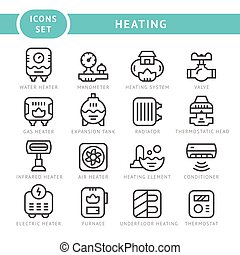 Set outline icons of heating isolated on white Vector...