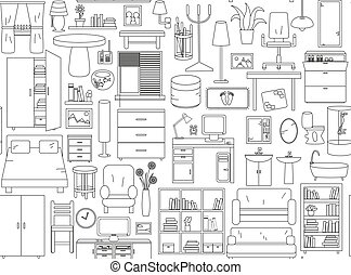 Seamless pattern with icons for Interior. Thin line in black and white colors.