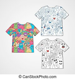Set of three t-shirts with abstract funny monsters. Colorful...