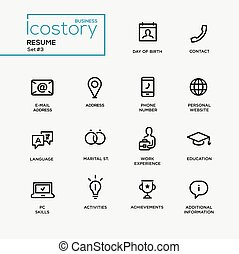 Modern resume simple thin line design icons, pictograms set...