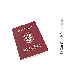 The passport for travel abroad of the citizen Ukraine on a white background