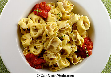 Delicious Meat Cappelletti in with Tomatoes Sauce in White...
