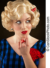Pretty Retro Blonde Woman - Pretty retro blonde woman in...