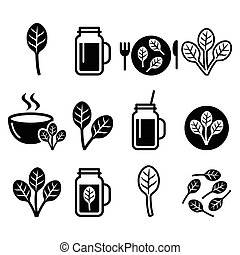 Spinach, healthy food - green shake - Food, nature icons set...