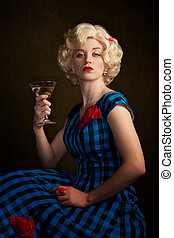 Pretty Retro Blonde Woman with Martini - Pretty retro blonde...