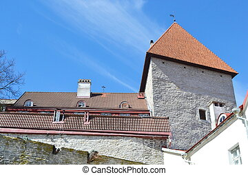 Fortress wall in Tallinn - Fortress wall on Toompea hill in...