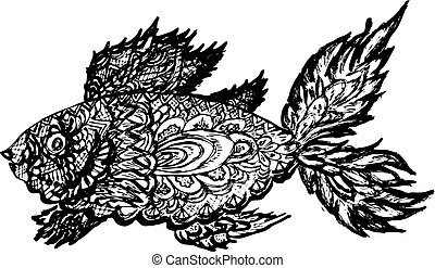 Fish Grunge Lineart - Ornamental graphic fish sketch,...