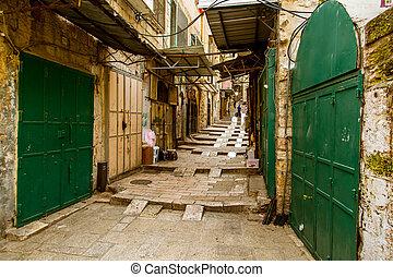 耶路撒冷, 中間, 街道, 大气, 東方