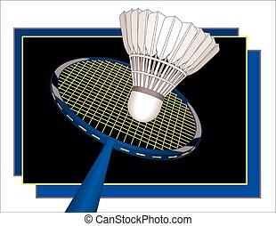 badminton racquet and shuttlecock