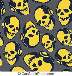 skull in earphones seamless background vector illustration