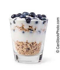 yogurt with muesli and berries on white background