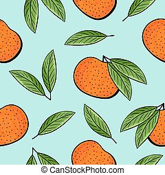 Seamless hand drawn tangerine pattern - Seamless tangerines...