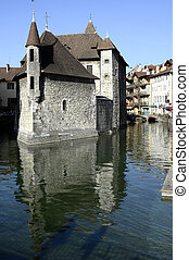 Old city and prison of Annecy, France - Medieval Old town...