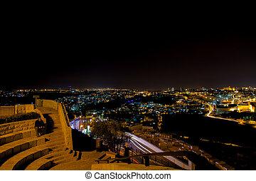 耶路撒冷, 橄欖, 全景, 建立, 中間, 東方, 夜晚